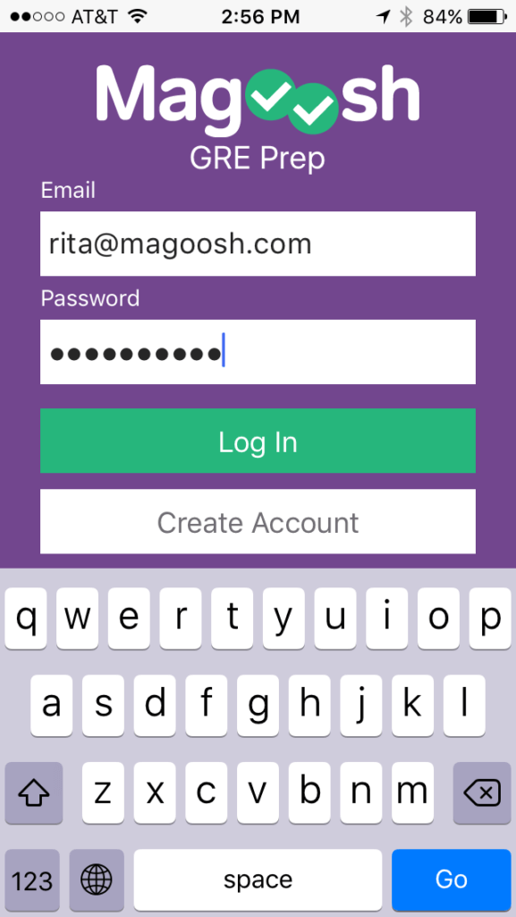 gre iphone app login screen