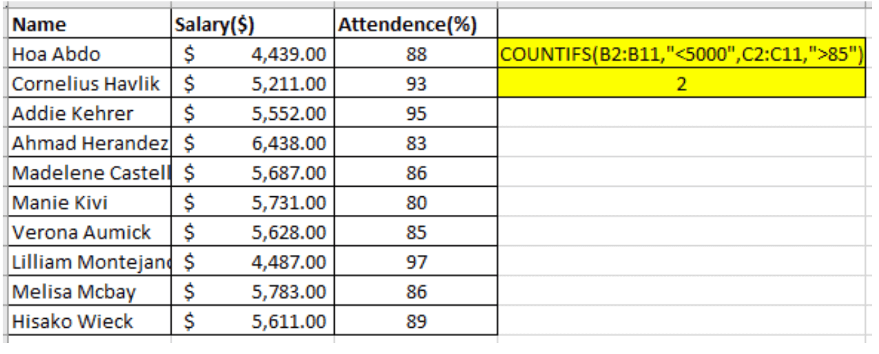 How To Handle Countif With Multiple Criteria In Excel Magoosh