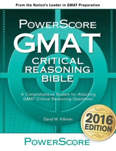 PowerScore GMAT Critical Reasoning Bible-best GMAT books-magoosh