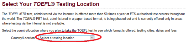 taking the TOEFL in any country: find your test center and fees