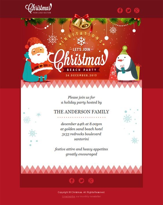 22 inspirational christmas html email templates santa and a penguin with a green hat greet you for christmas the fact that this html email template is that short makes the top illustration stand m4hsunfo