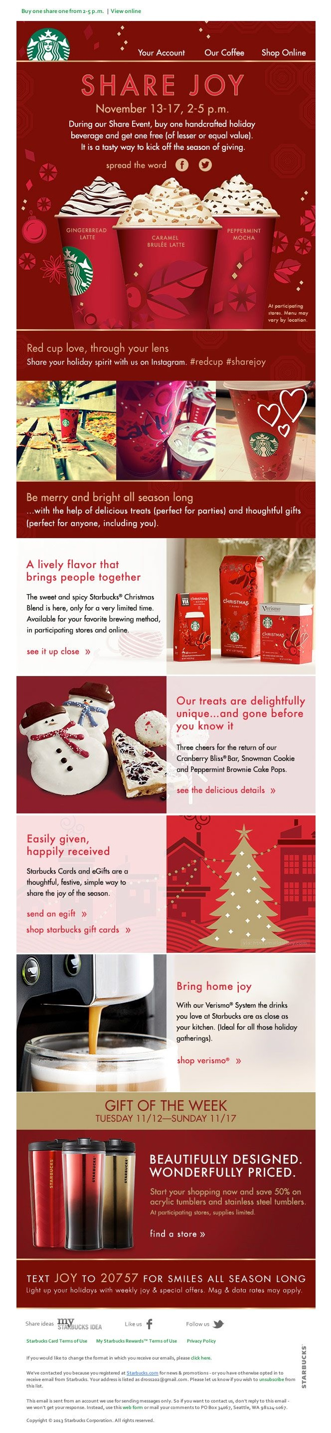 22 inspirational christmas html email templates here is a christmas html email template from starbucks it is beautifully designed it is all in red and it displays a collection of photos and maxwellsz