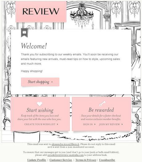 review-australia welcome email design