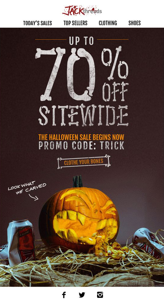 Jack-Threads halloween email campaign