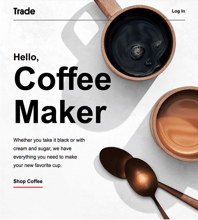 Trade coffee welcome email example