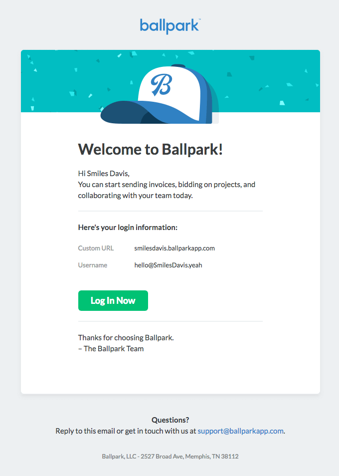 Ballpark welcome email example
