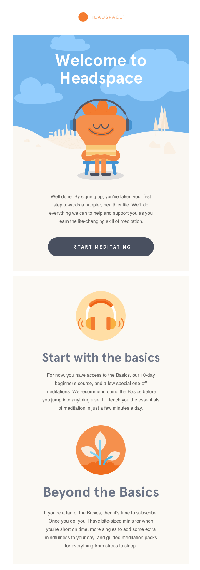 Headspace welcome email example