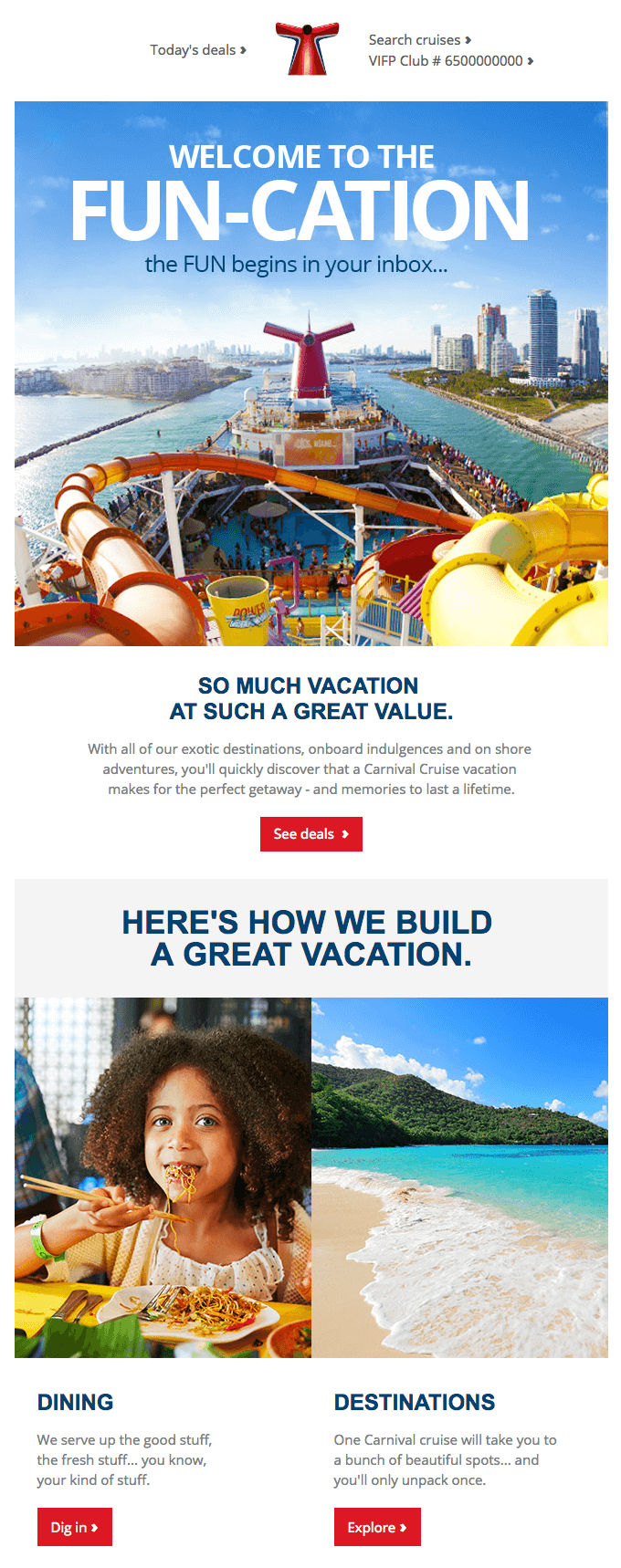 Carnival Cruise Line welcome email