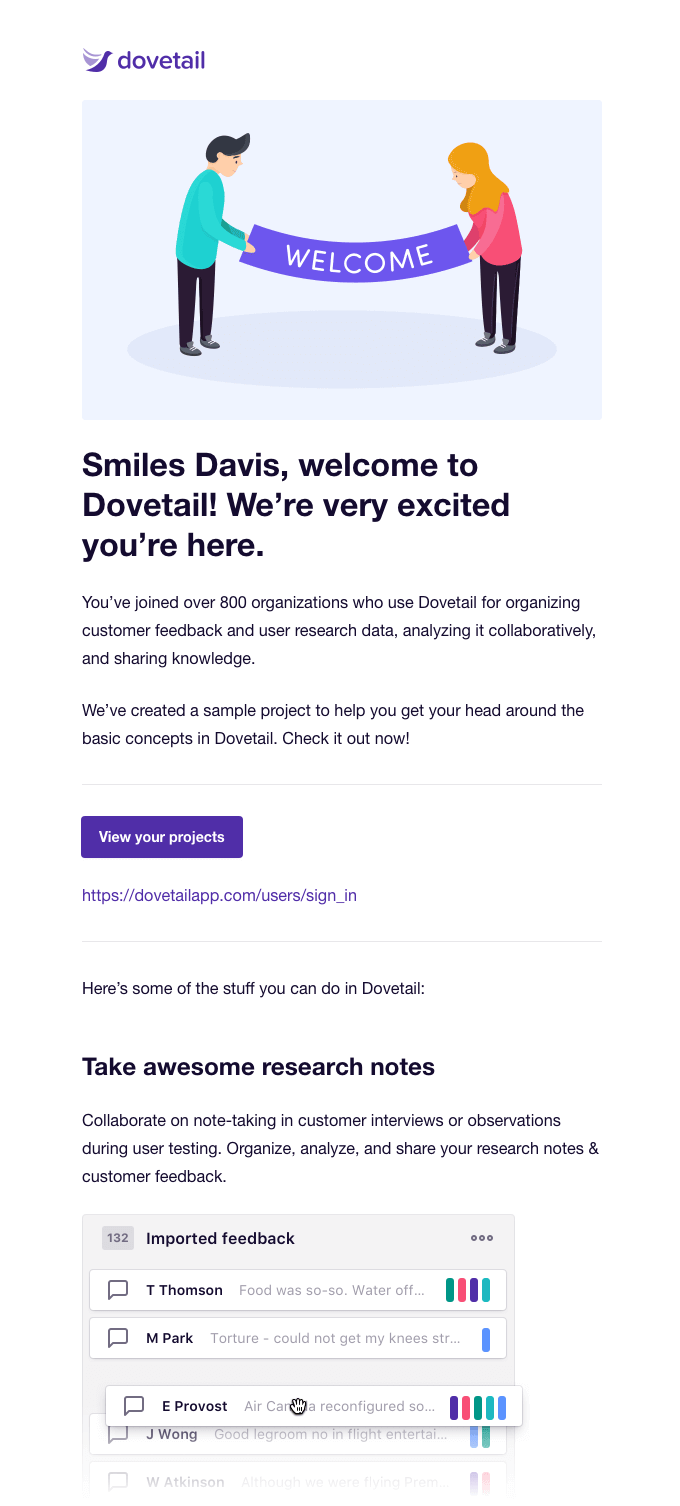 dovetail welcome email example