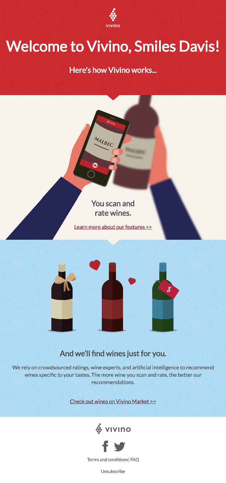 Vivino Welcome email example