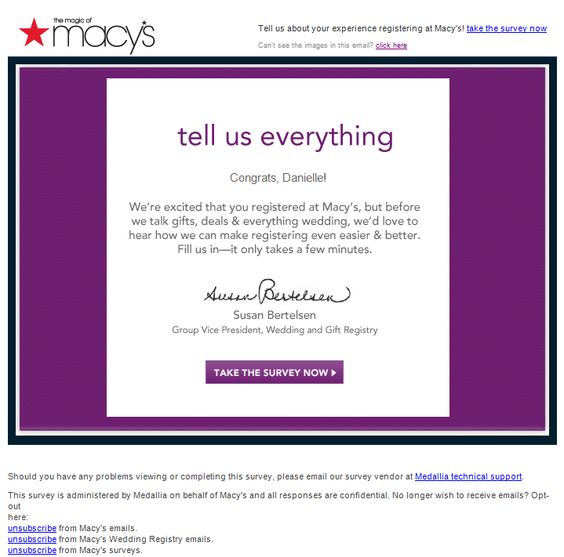 Macy's survey invitation email examples