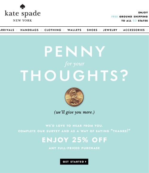 Kate Spade New York survey invitation email examples