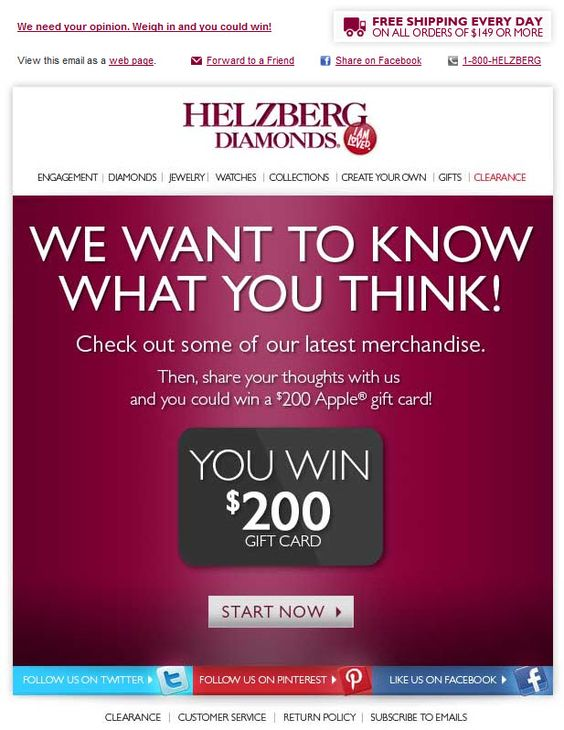 Helzberg Diamonds survey invitation email examples