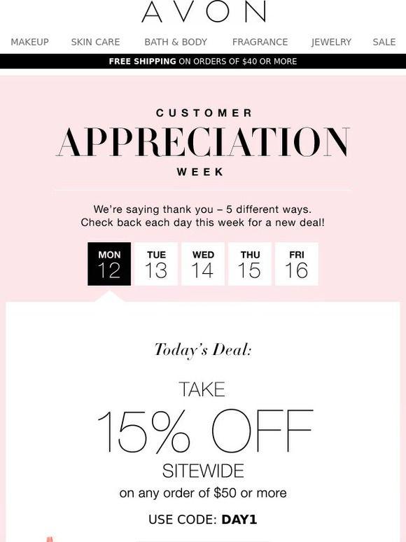 Avon customer appreciation email marketing
