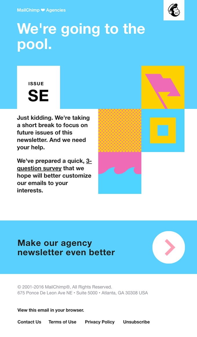 MailChimp survey invitation email examples
