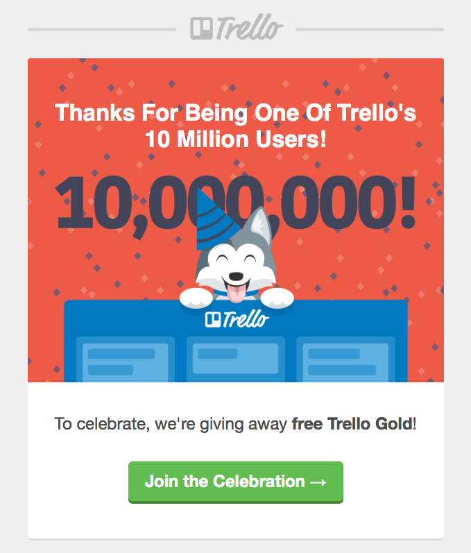 Trello customer appreciation email marketing