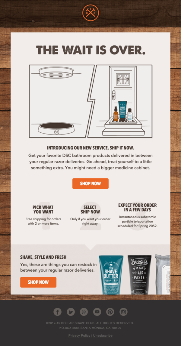 dollar shave club retention email