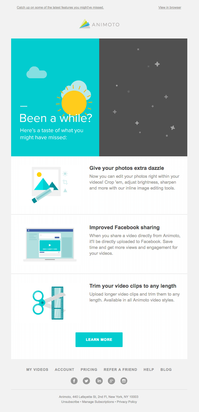 animoto retention email