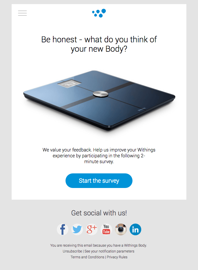 Withings survey email