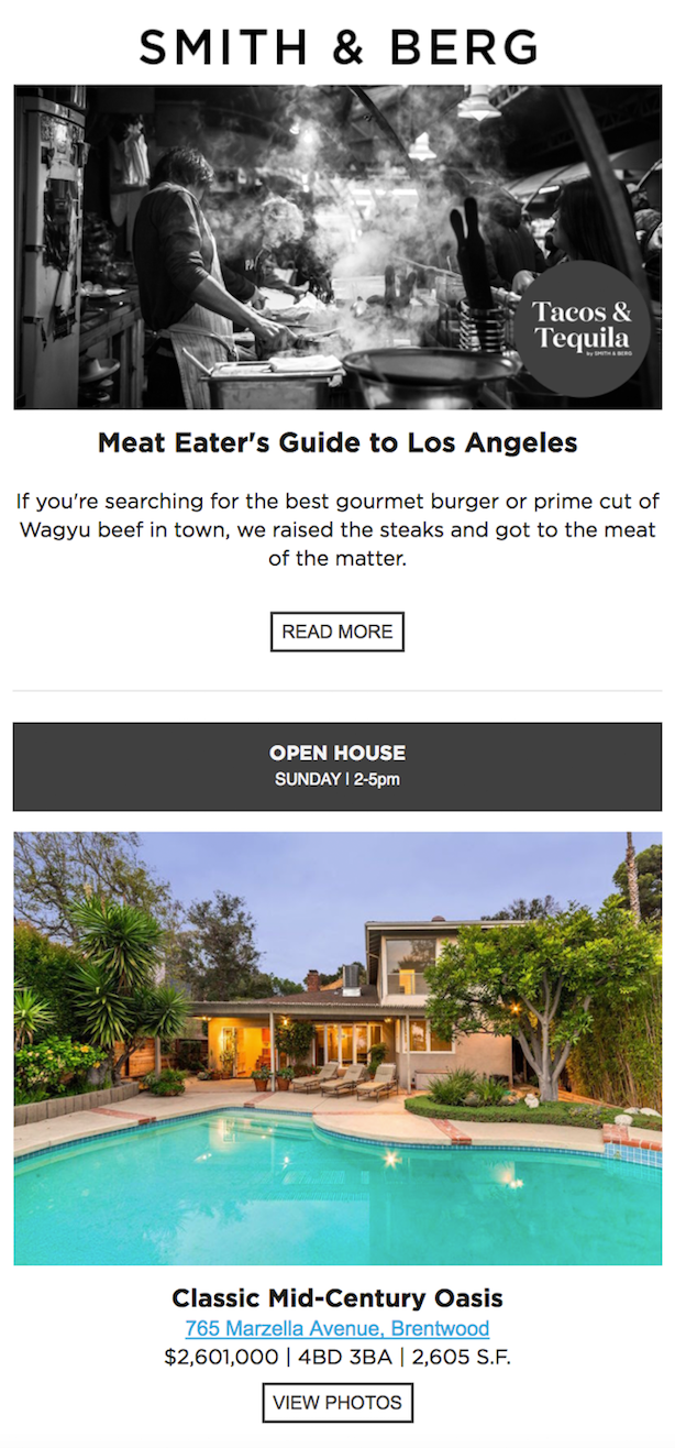 Smith & Berg Partners real estate email newsletter examples