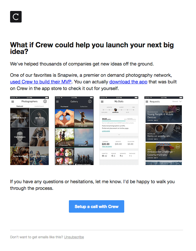 Crew onboarding email examples
