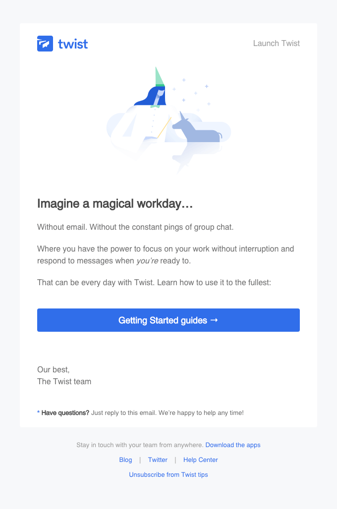 twist onboarding email examples