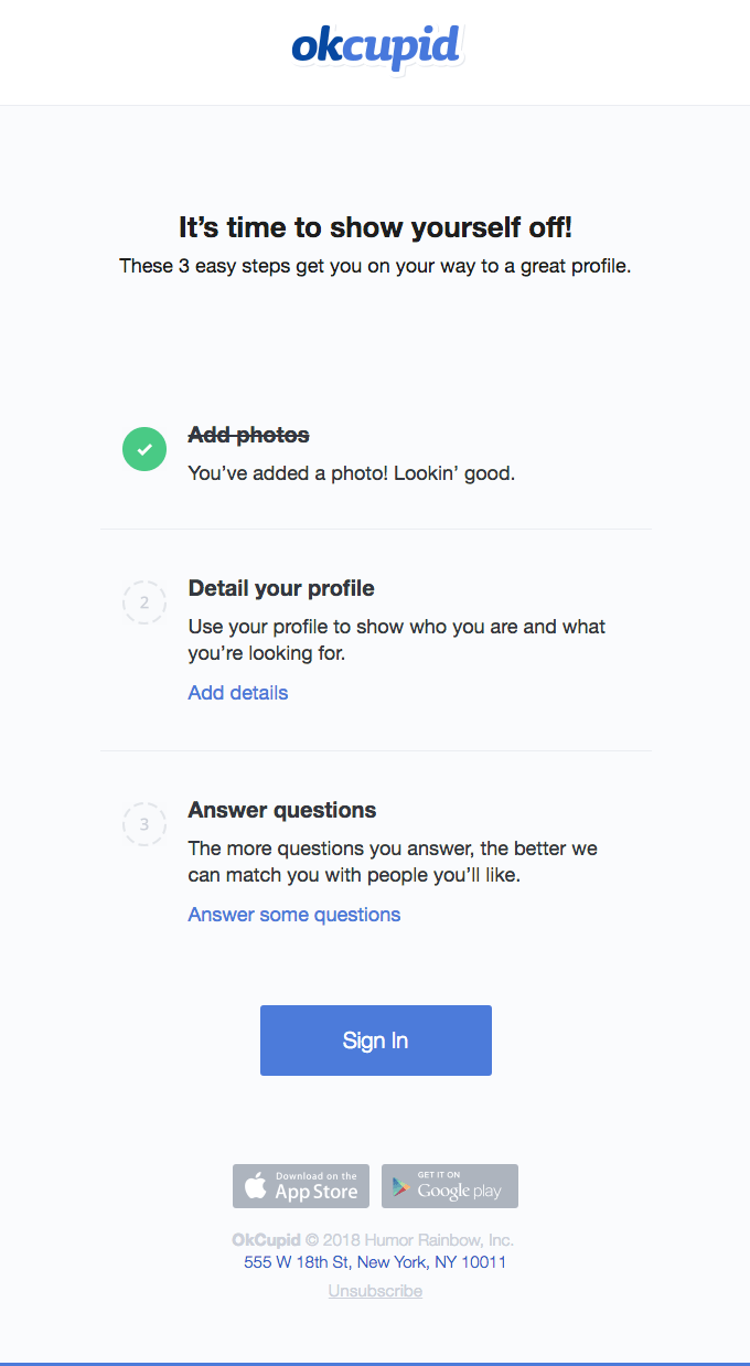 okcupid onboarding email