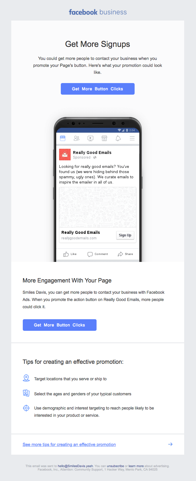 facebook business onboarding email example