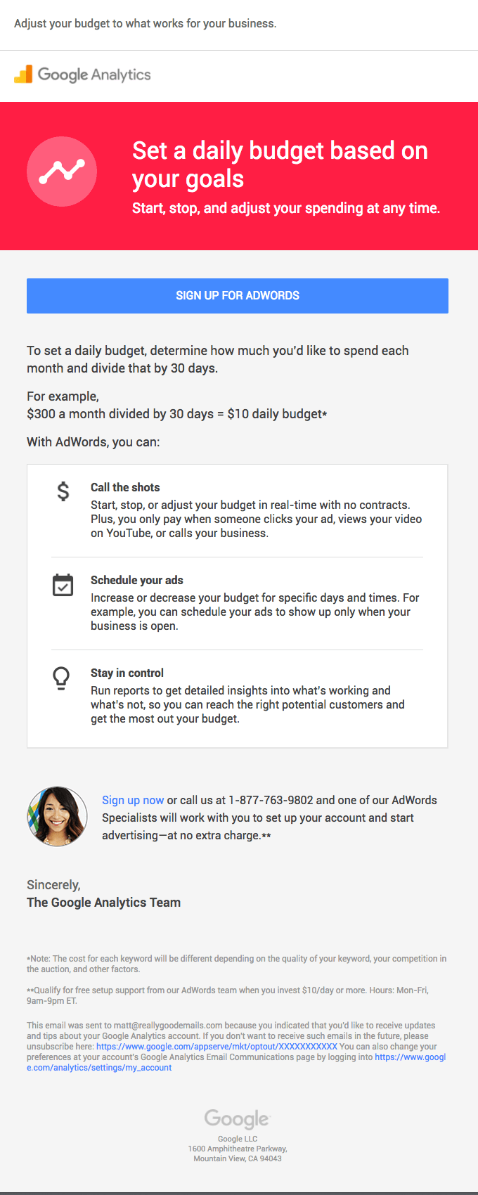 google analytics onboarding email examples