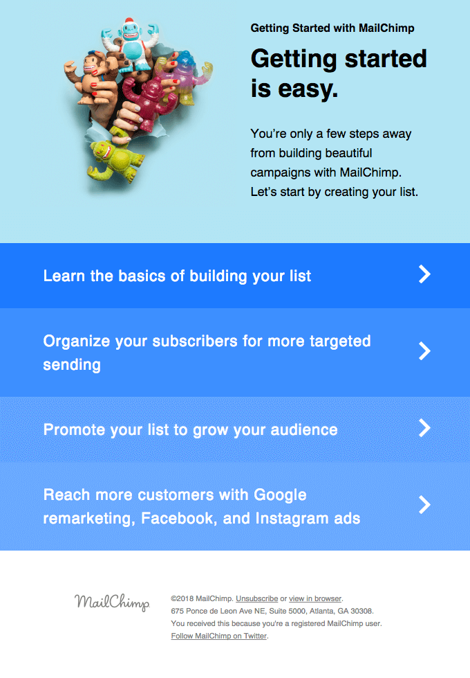 mailchimp onboarding email examples