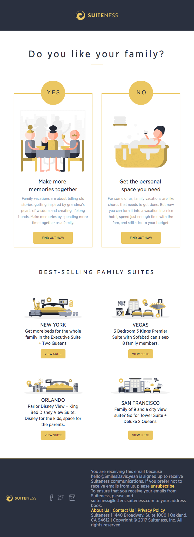 email marketing inspiration Suiteness