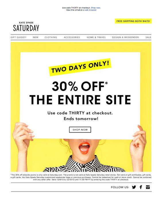 kate spade saturday email design example