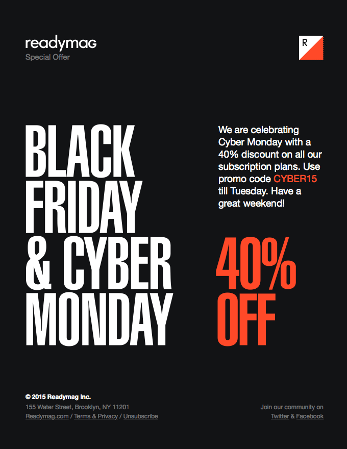 ReadyMag cyber monday email