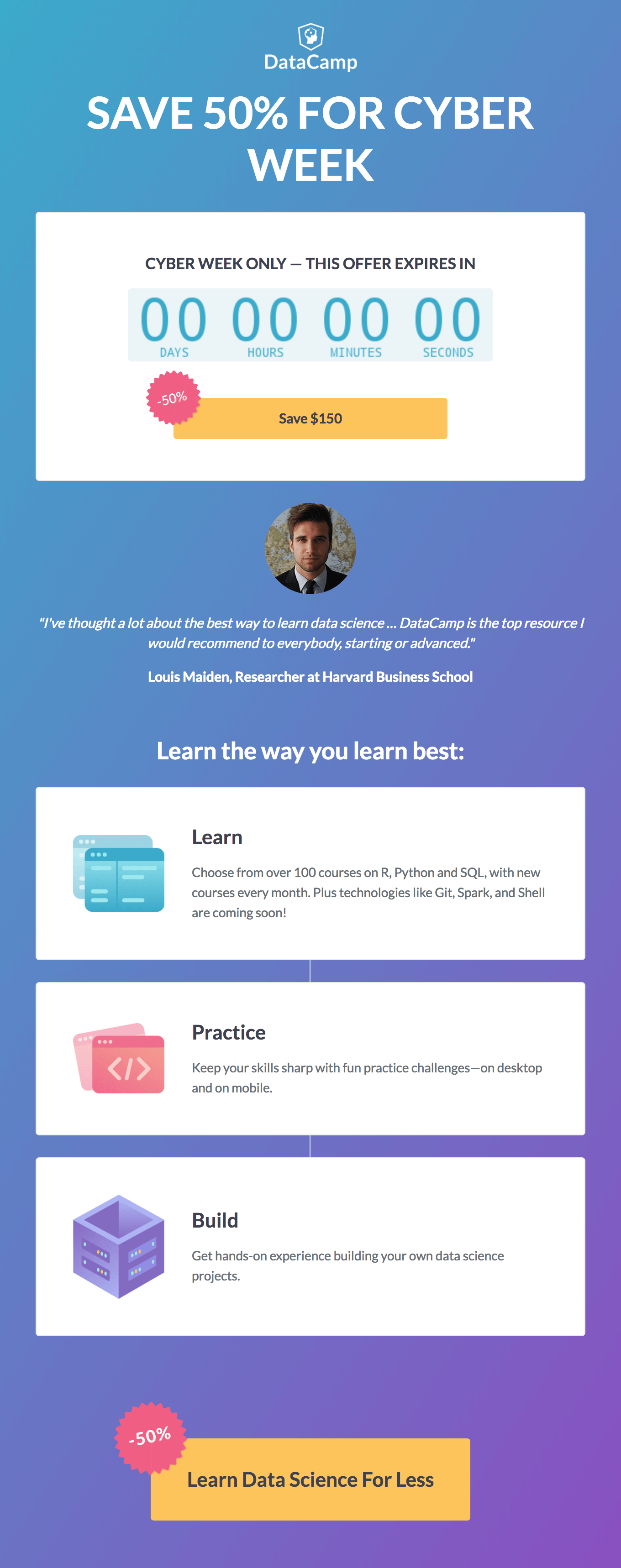 DataCamp cyber monday email