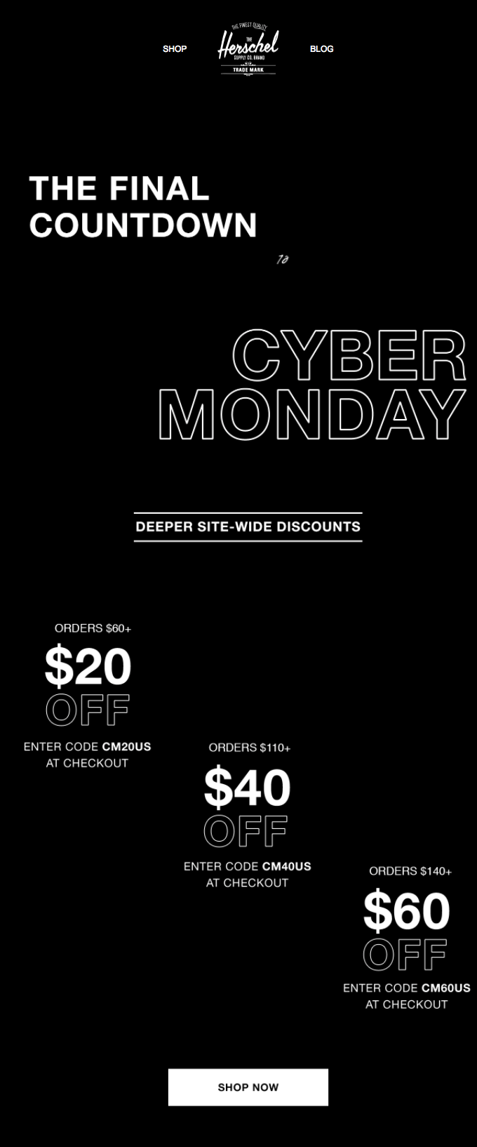 Herschel Supply Co cyber monday email
