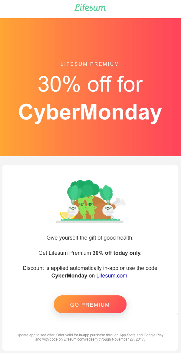 Lifesum cyber monday email