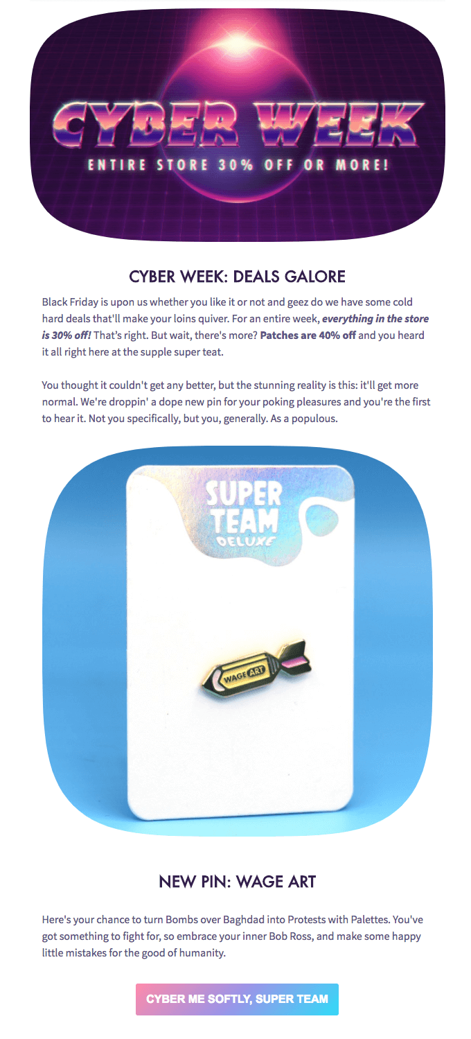 Super Team Deluxe cyber monday email