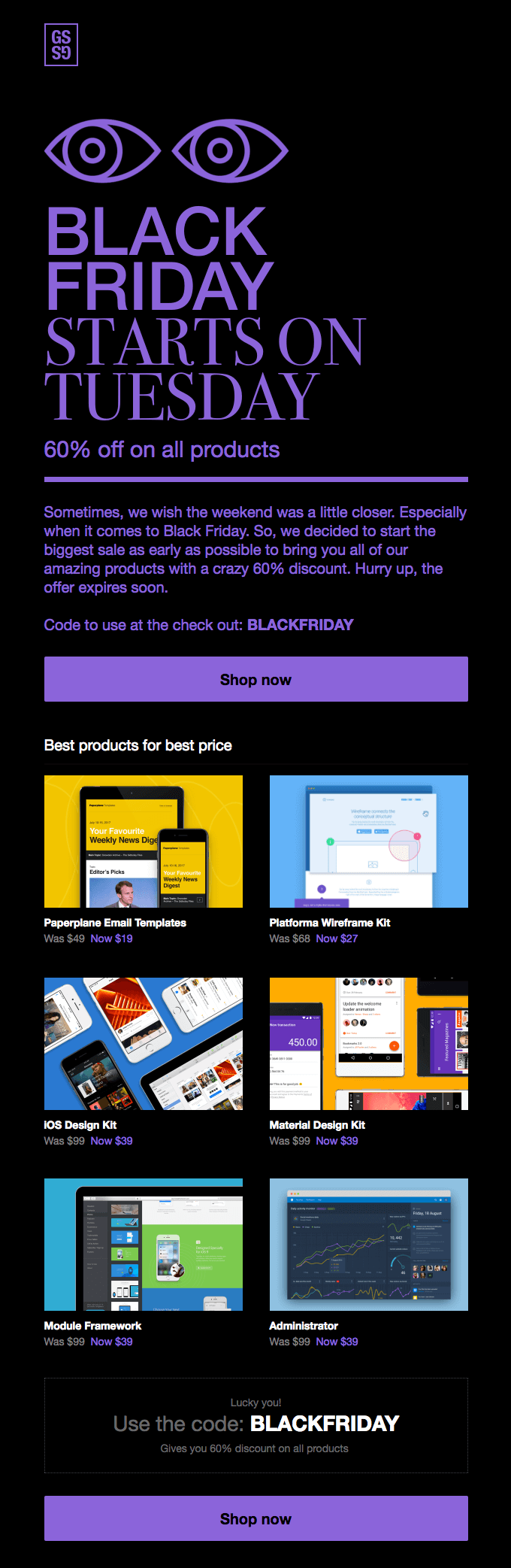 Great Simple Studio Black Friday email example