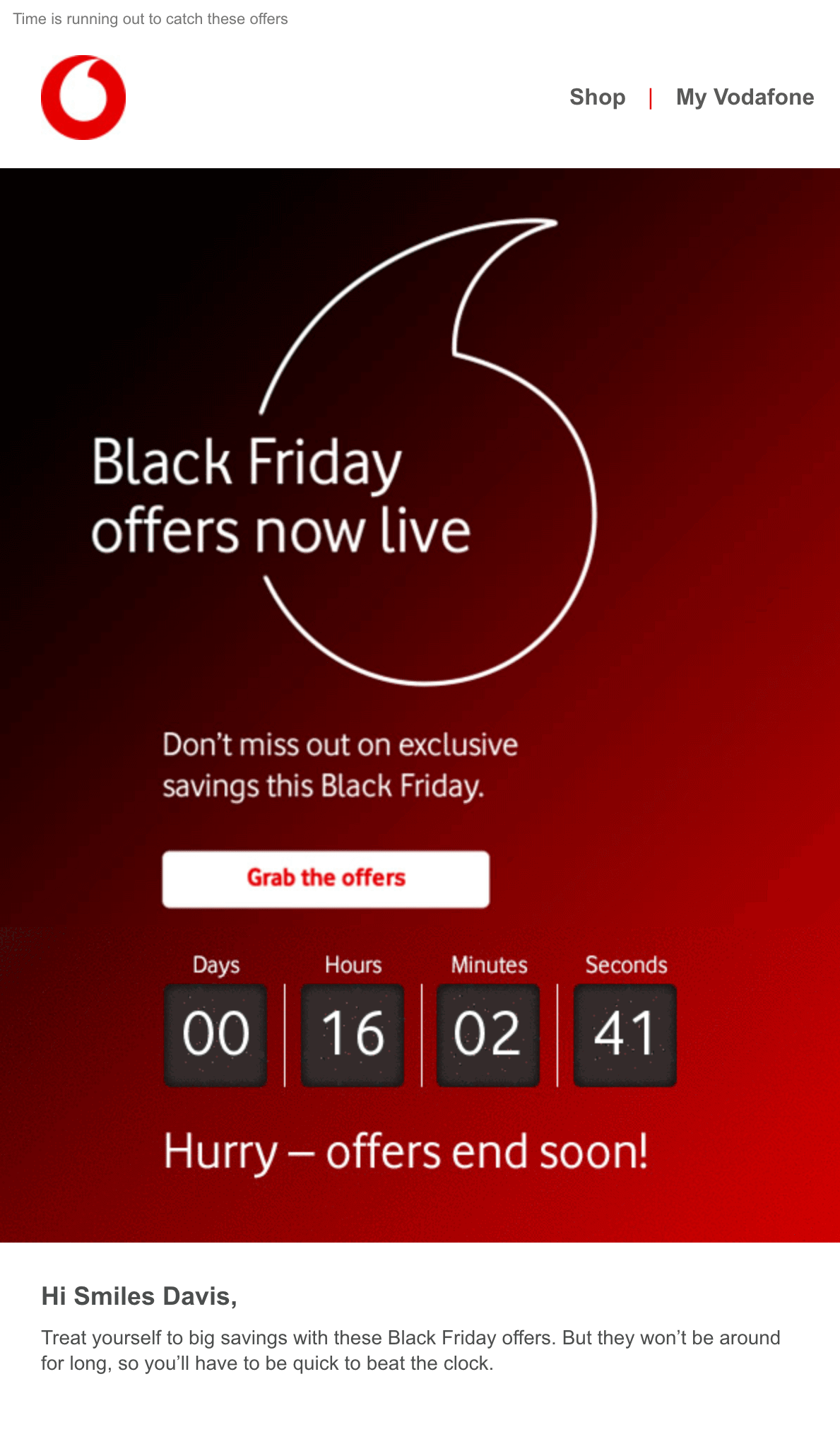 Vodafone Black Friday email example