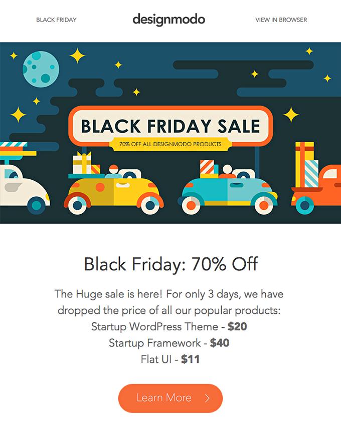 DesignModo Black Friday email example