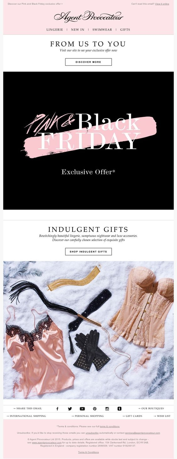 Agent Provocateur Black Friday email example inspiration