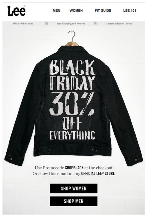 Lee Black Friday email example inspiration