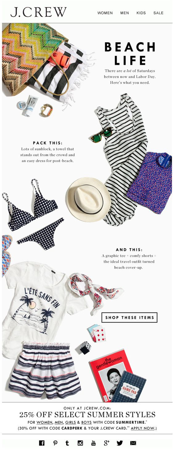 email design hierarchy example J Crew