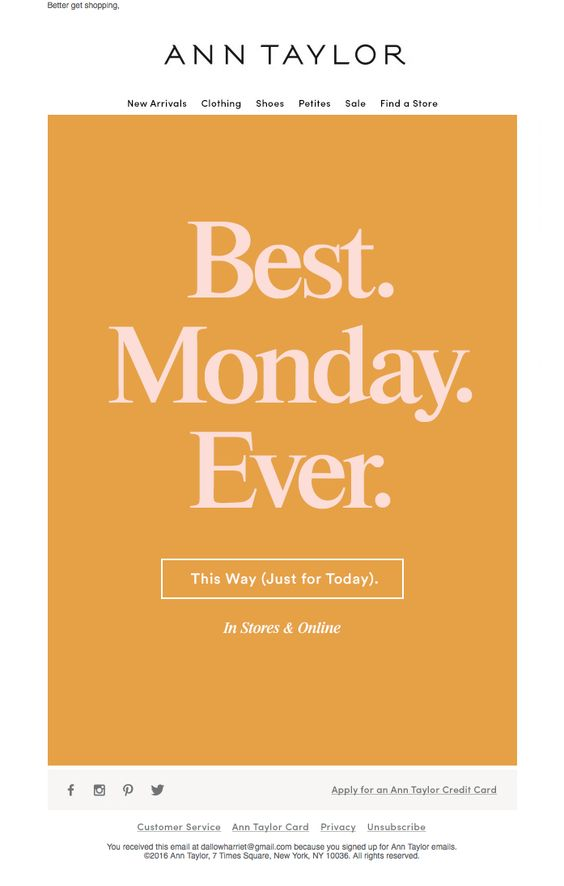 Ann Taylor Cyber Monday email