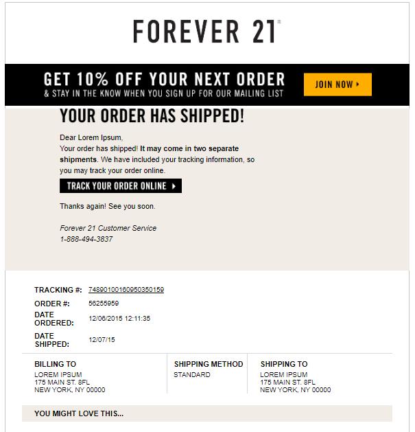 order confirmation emails Forvere21