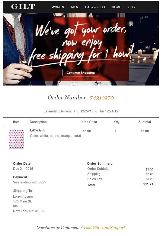 order confirmation emails Gilt
