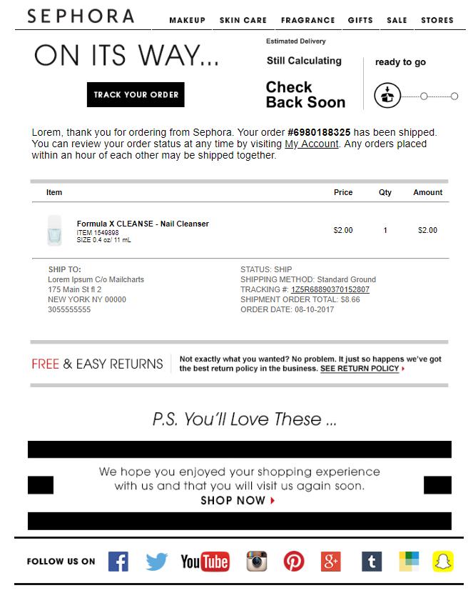 order confirmation emails Sephora