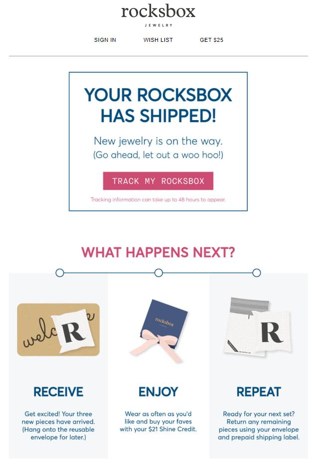 order confirmation emails RocksBox