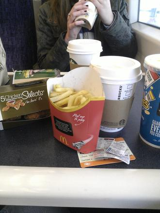 Food on the train after chelsea