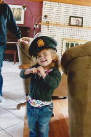 Bb girl and her pilots hat